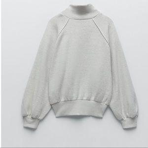 Zara Plush Balloon Sleeve Sweatshirt